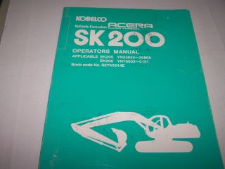 Kobelco SK200 Acera Hydraulic Excavators Operators Manual