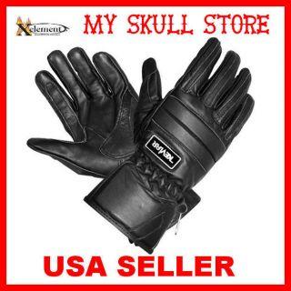 Leather Motorcycle Biker Gloves Padded Knuckles Adjustable M
