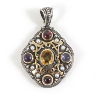 Konstantino Sterling Silver 18K Gold Colored Stone Pearl Pendant
