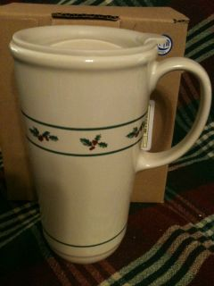 Longaberger Woven Traditions Pottery Holiday Holly Travel Mug New in
