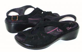 Klogs USA Womens Black Suede Back Strap Sandals Size 9M