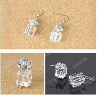 Korean Fashion Girls Womens Elegant Bowknot Gift Box Crystal Earring