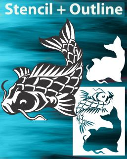 air brush stencil Koi Fish Set 1 + Outline Cutout High Detail skull