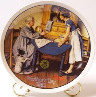 Knowles Mothers Day Plate C1983 Norman Rockwell Artist Excellent