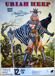 Uriah Heep Original Vintage Rock Roll German Concert Poster 1979