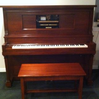 Antique Upright Player Piano Gildemeester Kroeger Electrified