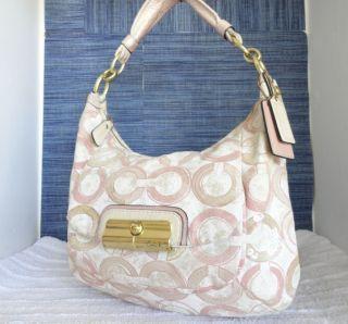 Coach Sequin Kristin Graphic Op Art Hobo Bag 16791 Peony Pink