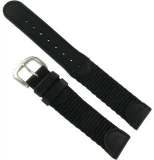 19mm Kreisler Black Leather Black Fabric Swiss Army Mens Watch Band