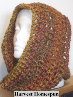 Hand Crocheted Infinity Eternity Scarf Harvest Lion Homespun Yarn