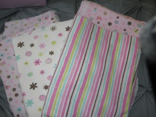 Lot of 4 Baby Girl Koloa Kids Receiving Blankets Pink Flowers Stripes
