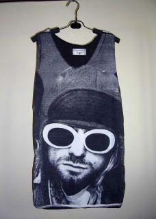 Kurt Cobain Grunge Rock Nirvana Screen Printed Woman Top Tank Tunic