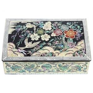 Korean Antique Black Lacquer Mother of Pearl Nacre Inlaid Jewelry Box