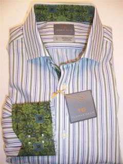 Thomas Dean L s Button Up Shirt Green Blue White Stripe Contrasting