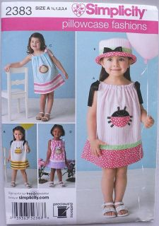 Simplicity #2383 Pillowcase Toddlers Girls Summer Dress & Hat Pattern