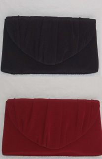 La Regale Burgundy Black Satin Evening Bag Clutch Handbag Purse