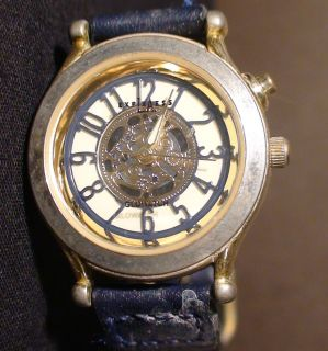SPORTY GOLD TONE LA EXPRESS BLUE BROWN FAUX LEATHER LADIES WATCH WORKS
