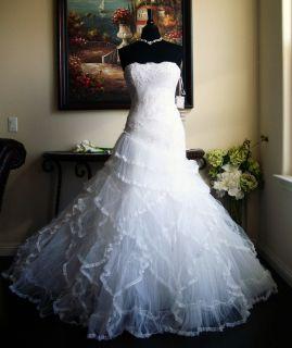 Pronovias La Sposa Luz Ruffle & Lace Ballgown Wedding Dress with Silk
