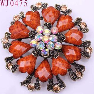 Quality Swell Flower gemstone Alloy Elegant Ladies Pins Brooch WJ0475