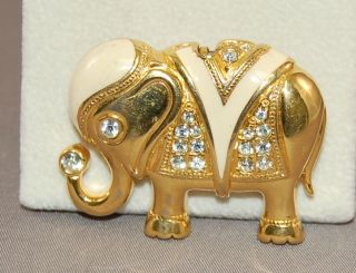Superb Vintage Kenneth J Lane K J L Enameled Rhinestone Elephant