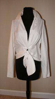 Lafayette 148 New York Long Sleeve V Neck White Midriff Tie Blouse
