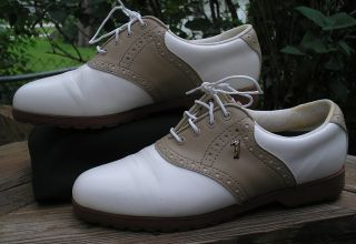 Womens Lady Fairway White Leather Golf Shoes Size 7 5 VGUC