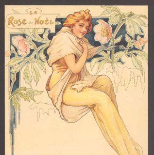 Art Nouveau Glamour Lady La Rose de Noel Reproduction Postcard