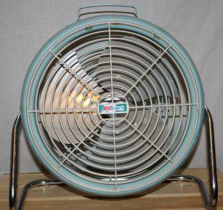 Vintage Lakewood Metal Fan Round Model K 10 Floor Window Blue 628 Made