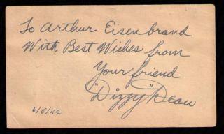 Dizzy Dean Autographed 1942 GPC St Louis Cardinals 1934 1938 World