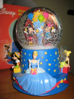 DISNEY HALLMARK MICKEY PINOCCHIO TINK CINDERELLA MUSIC BOX SNOW WATER
