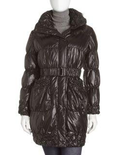 Adrienne Landau Raccoon Fur Collar Puffer Jacket Black