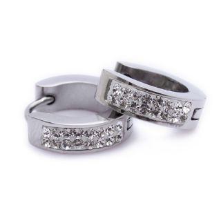 Silver Crystal Stainless Steel Stud Hoop Ladies Earrings E120