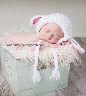 ILC Crochet Custom Size Spring Lamb Baby Hat Photo Prop Removable
