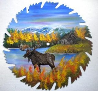 Hand Painted Saw Blade Art Mountain Fall Moose and Log Cabin