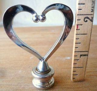 Lamp Finial Vintage Chrome Heart Mid Century Modern Deco 2 1/4h (per
