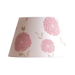 Wide Floral Barrel Lamp Shade White Pink Printed Fabric Shade