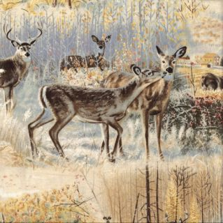 Deer Scenic Landscape Quilt Fabric Wild Wings Beyond The Horizon