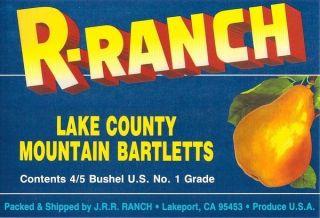 Ranch Vintage Pear Fruit Crate Label Lakeport CA