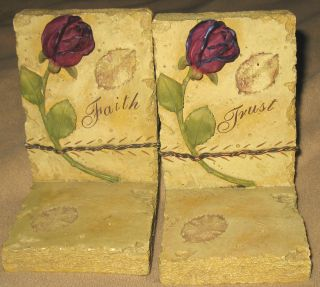 Bookends Faith Trust by Pacific Enterprise LLC Hand Crafted Painted