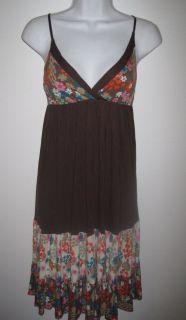 Lani Women Brown Colorful Floral Rayon Maxi Dress Sundress M
