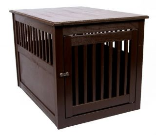 """Wood End Table Large Mahogany Pet Crate Dog Furniture Cage Pen 24""""D"""