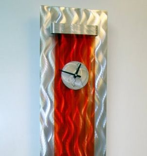 Large Modern Abstract Silver Red Metal Wall Art Decor Sculpture Blaze