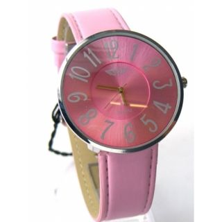 London Ladies Large Leather Strap Pink Silver Watch Brand New
