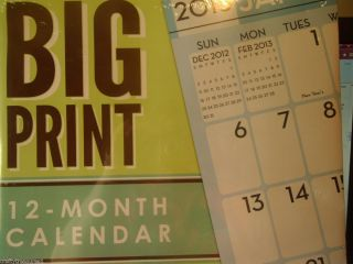 2013 Big Large Print Calendar x Large Writing Spaces Wall 12 x 11