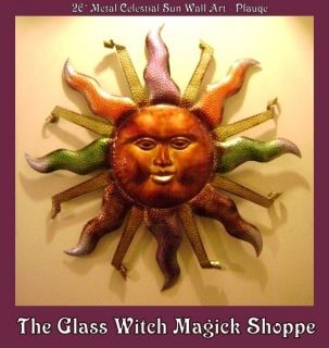 Large Metal Celestial Sun Wall Art Plaque Wiccan Witch Magick Home