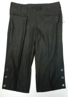 Larry Levine Black Stretch Cropped Pants 18W