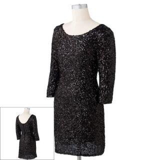 Lauren Conrad Black Sequin Sheath Dress Size Medium NWT