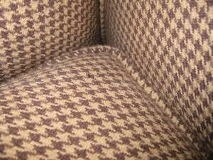 Ralph Lauren Brown Houndstooth Comfortable Chair Leather ottoman