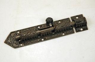 Victorian Decorative Slide Bolt Latch Cast Iron