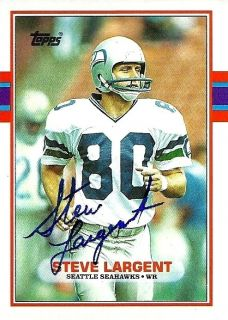 Steve Largent Signed 1989 Topps Card 183 Signature on Card Seahawks