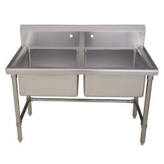 WHLSDB4020 48 Double Bowl Stainless Steel Laundry Utility Sink